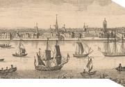 An image of New York harbor in the 1750s - very crowded with many ships of various sizes